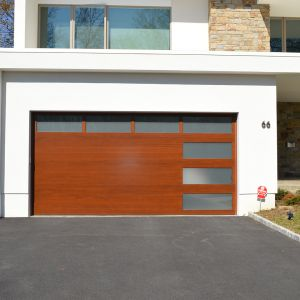 16x8 Modern Euro  plank stain frosted glass garage
